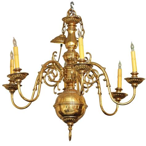 Polished Cast Brass Williamsburg Chandelier With Six Williamsburg Brass Chandelier