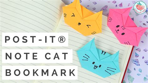 Origami Cat Bookmark - post it 174 note cat bookmark tutorial 187 origamitree