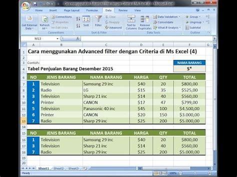 tutorial excel filter excel 2007 tutorial cara menggunakan advanced filter