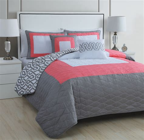 Coral And Gray Bedding by 5 Modern Coral Pink Grey White Quilt Set Bed