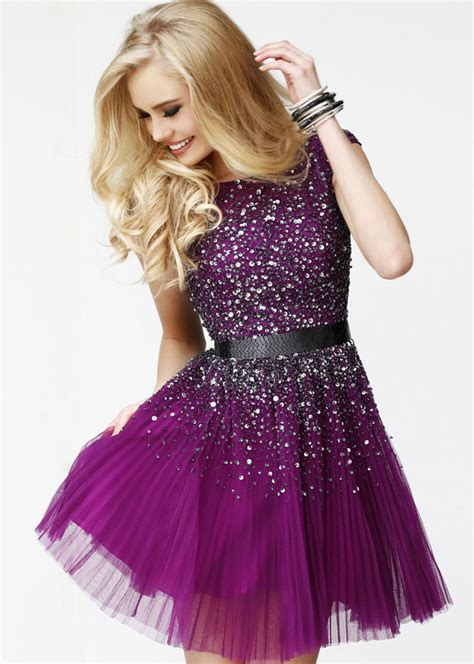 homecoming colors purple beaded prom dress with open back everyounglady