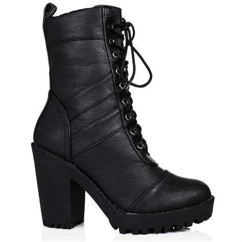 heeled biker boots buy izzy heeled platform biker ankle boots black leather