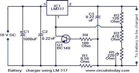 lm317 battery charger circuit diagram gt circuits gt battery charger circuit using lm317 l37011