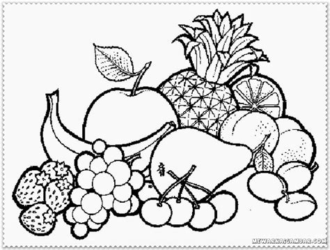 coloring page kids com coloring pages of fruit bowl a bowl of fruits coloring
