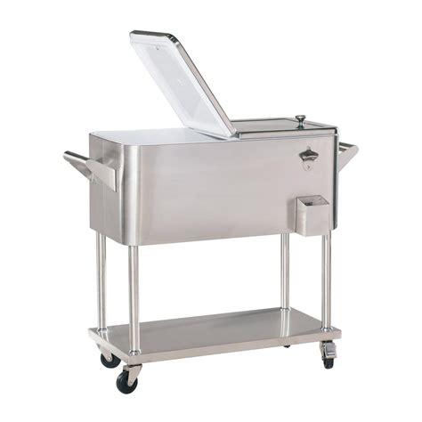 stainless steel patio cooler on wheels kitchen radio tv