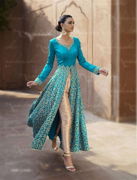design clothes pinterest blue bhagalpuri designer anarkali suit 67963 cultural