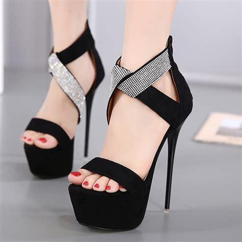 Black Simple Heels 5cm new pumps 16cm toe high heels
