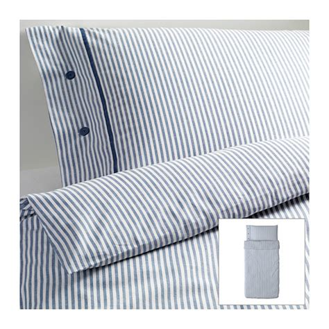 Blue Stripe Duvet ikea blue classic ticking stripe cottage duvet quilt cover 2pc nyponros ebay