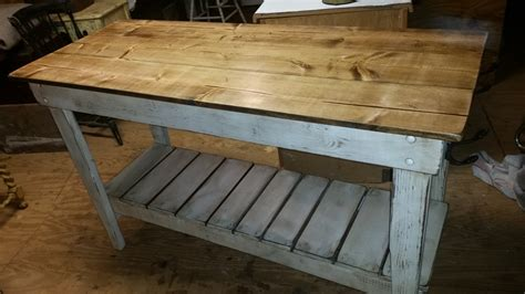 kitchen island farm table style distressed work table
