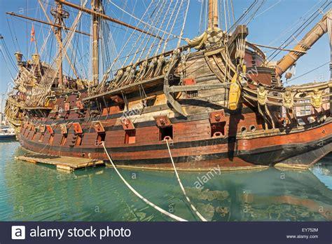 genova porto antico pirate ship polanski porto antico genoa italy stock