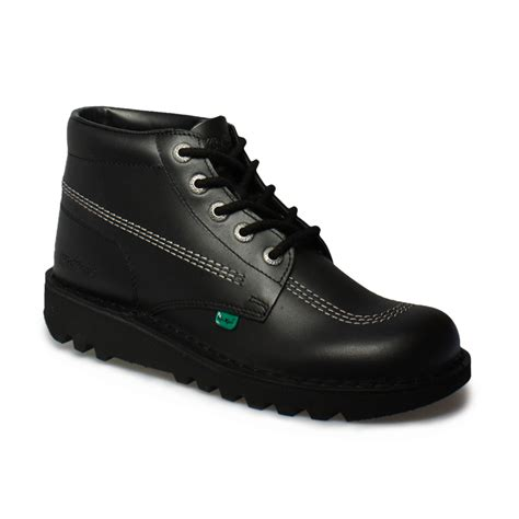 Kickers Shoes 5 kickers kick hi m black silver leather school shoes boots size 6 5 10 5 ebay