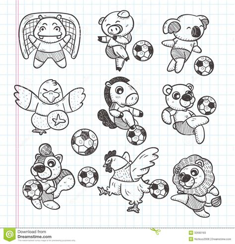 Doodle Animal Soccer Player Element Stock Photos Image