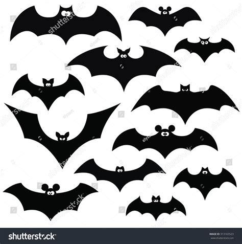 Set Bat set black silhouettes bats vector stock vector
