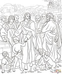 Jesus With Children Coloring Page Free Printable Jesus And Children Coloring Page