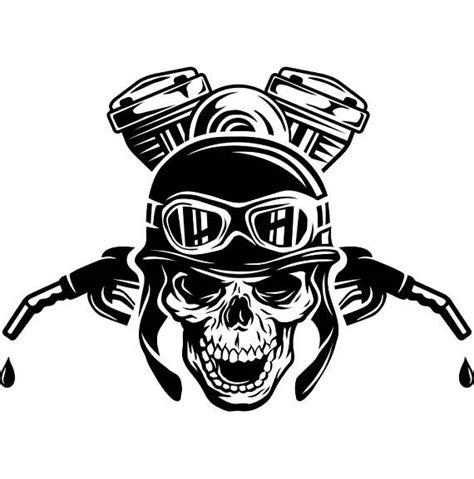 motor skull motorcycle logo 3 skull engine gas nozzle bike biker mechanic