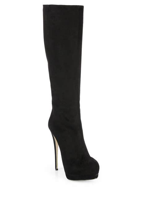 giuseppe zanotti suede knee high platform boots in black