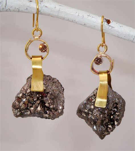 Custom Handmade Jewelry - silver druzy earrings nectar jewelry handcrafted custom