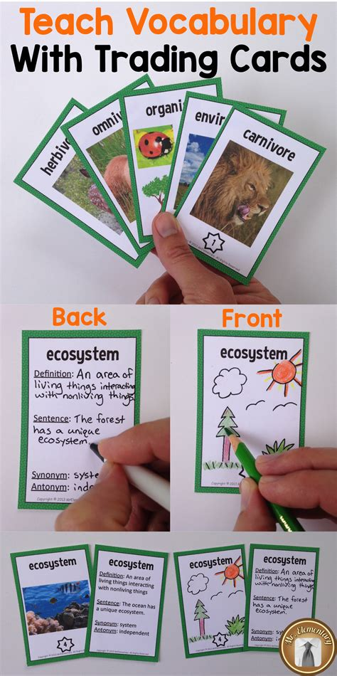 Vocabulary Card Template For Vocabulary Words Front And Back by Teach Vocabulary With Trading Cards Students Write The