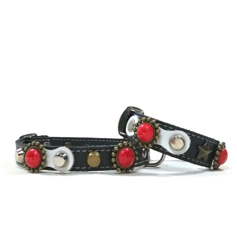 collar matching bracelet beautiful leather collar for dogs and matching bracelet with coral style polaris