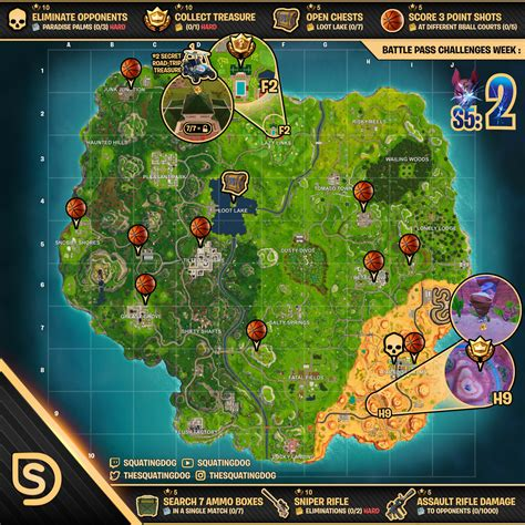 fortnite week 2 challenges sheet map for fortnite battle royale season 5 week