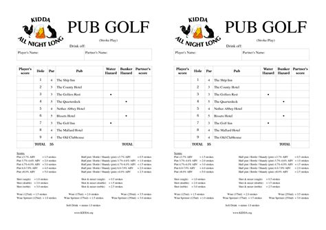 bar golf score cards template golf pub crawl scorecard time