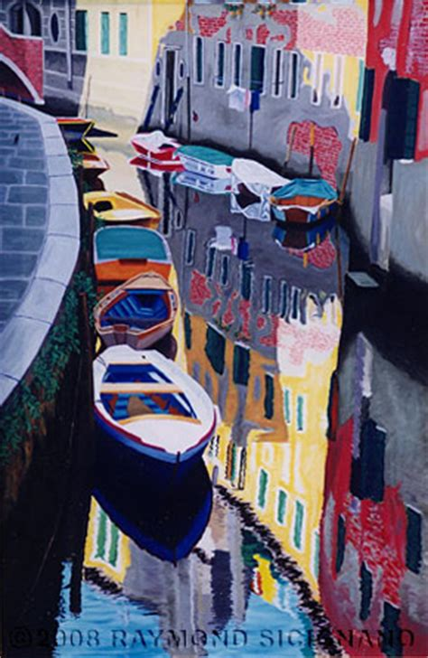 what are the boats in venice called painting of boats on canal in venice italy called colors