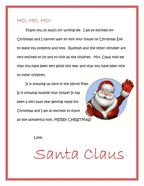printable free letters from santa free printable letter from santa christmas printables