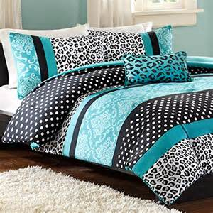 teal and black bedding