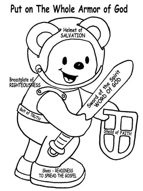 coloring pages for children s ministry armor of god teddy bear for the small kids to color