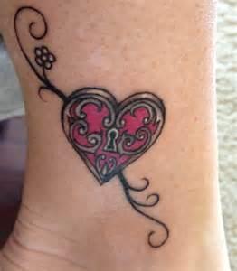 heart lock and key tattoo tattooed images