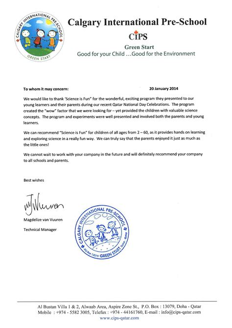 Letter Sle For Field Trip Science Made On Science Experiences For Children Science Field Trip Science Birthday