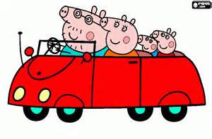 car family pig coloring printable car family pig