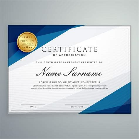 White Sertifikat white and blue certificate diploma template