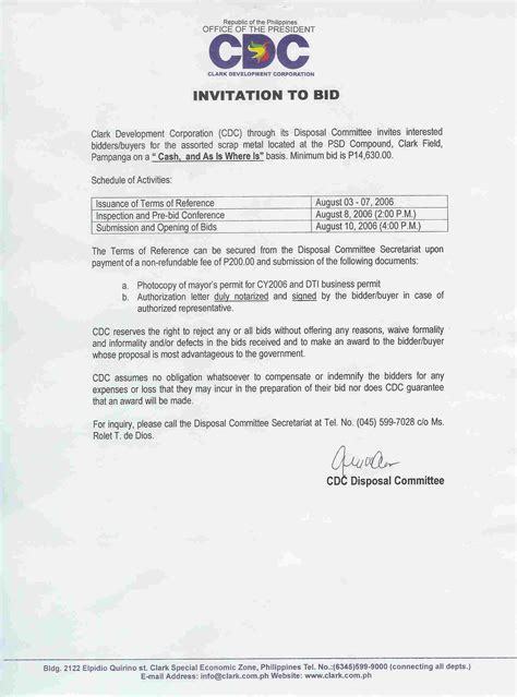 invitation to bid template invitation for bid snow removal services pdf picture