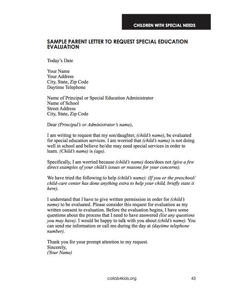 Sle Letter Requesting Evaluation Special Education Services Early Intervention For Special Needs Collaboration For Early Childhood