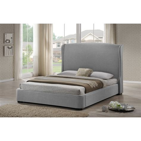 full size upholstered bed sheila gray linen modern bed with upholstered headboard