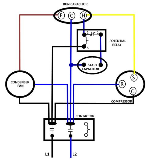 compressor relay starter capacitor diagrams