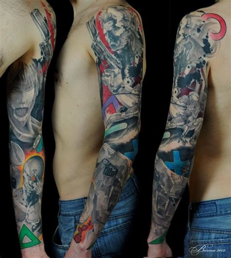 guns and anime tattoo sleeve best tattoo ideas gallery