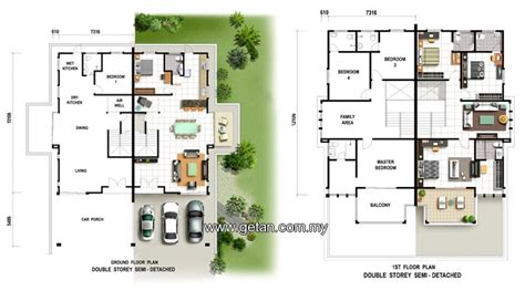 semi d house plan semi detached house plans malaysia