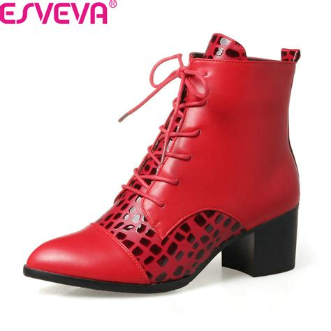 Boots Zipper 2018 esveva 2018 boots autumn winter shoes square high heel ankle boots pu leather zipper