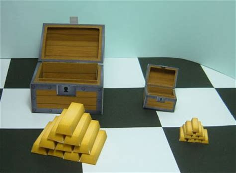 Treasure Chest Papercraft - papercraft gold treasure chest papercraft4u free