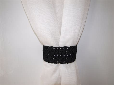 crochet curtain tie backs black tiebacks lace curtain tie backs crochet tieback with