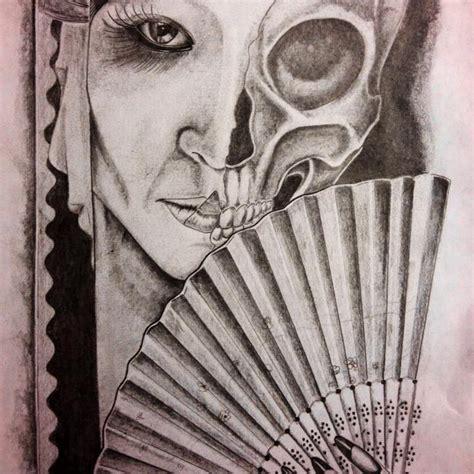 tattoo geisha skull geisha skull by joshua nordstrom original art