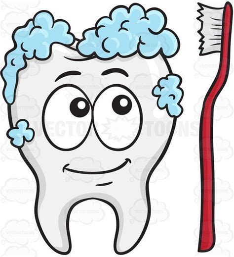 tooth  cleaned   toothbrush cartoon clipart