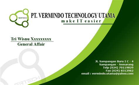 desain kartu nama yang simple desain kartu nama pt vermindo utama print it