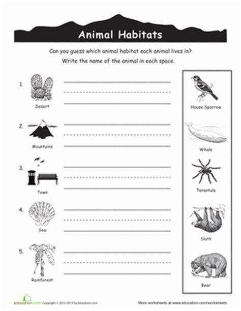 printable worksheets about animal habitats animal habitats worksheets education com