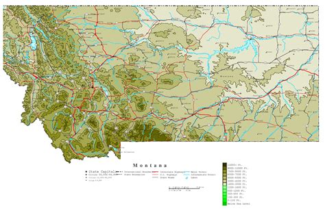 altitude map of usa large detailed elevation map of montana state with roads