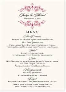 Song vintage monogram wedding menu cards rehearsal dinner menus and