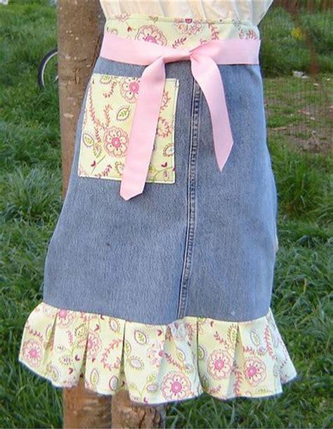 apron pattern using old jeans diy jean apron cute craft stuff pinterest