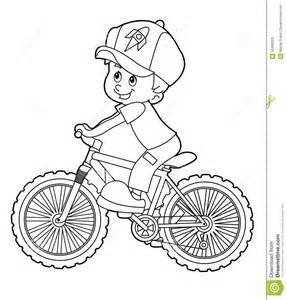 cartoon kid riding bicycle coloring page royalty free
